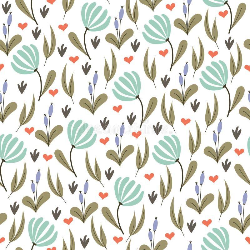 Абстрактная безшовная картина с флористической предпосылкой бесплатная иллюстрация