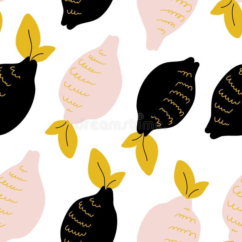 Абстрактная безшовная картина с цитрусовыми фруктами бесплатная иллюстрация