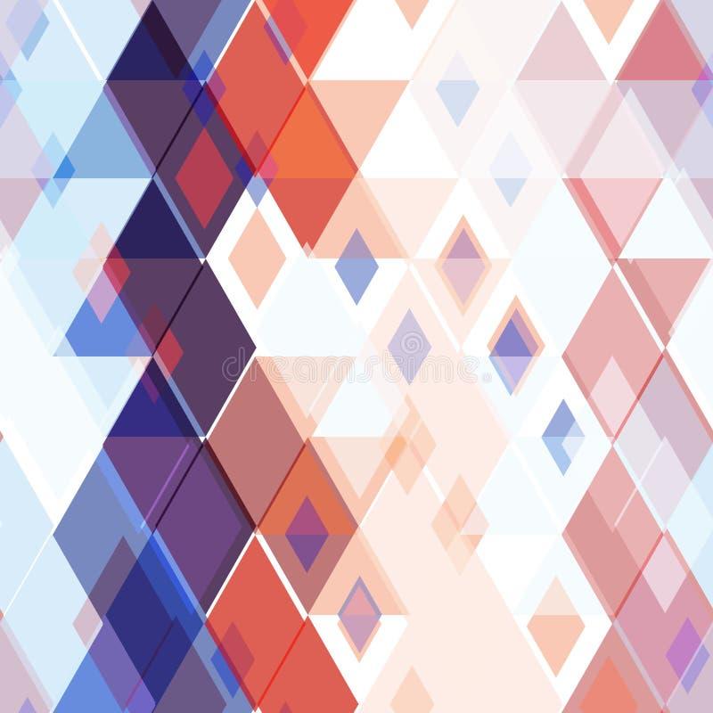 Абстрактная безшовная картина с элементами косоугольника декоративными геометрическими современными печать красного maroon военно иллюстрация штока