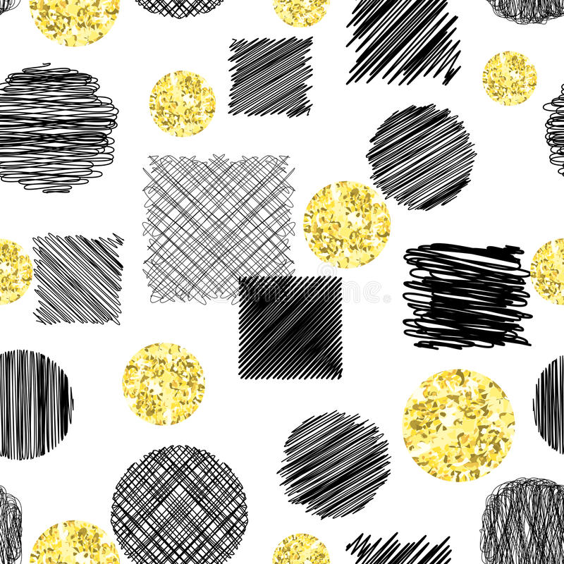 Абстрактная безшовная картина с scribble излишка бюджетных средств объезжает и квадраты и круги бесплатная иллюстрация