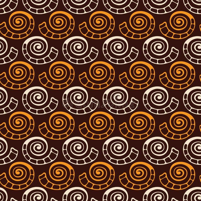 Абстрактная безшовная картина форм руки вычерченных естественных, раковин, спиралей Предпосылка вектора цвета иллюстрация вектора