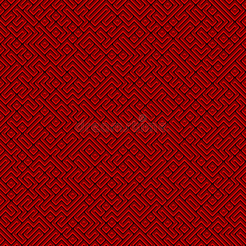 Абстрактная безшовная красная картина лабиринта иллюстрация штока