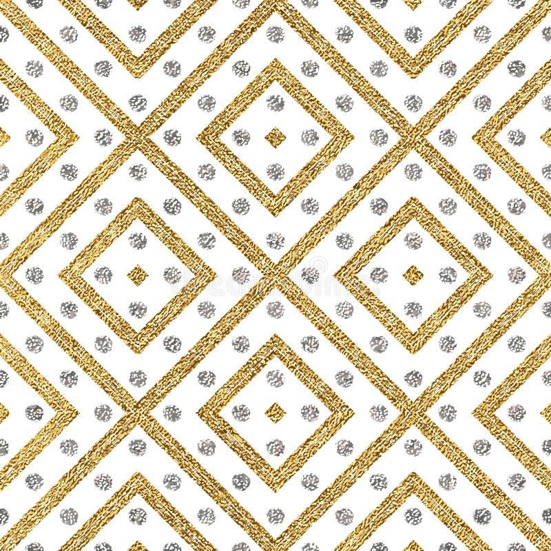Абстрактная безшовная предпосылка золотых и серебряных нашивок указывает бесплатная иллюстрация