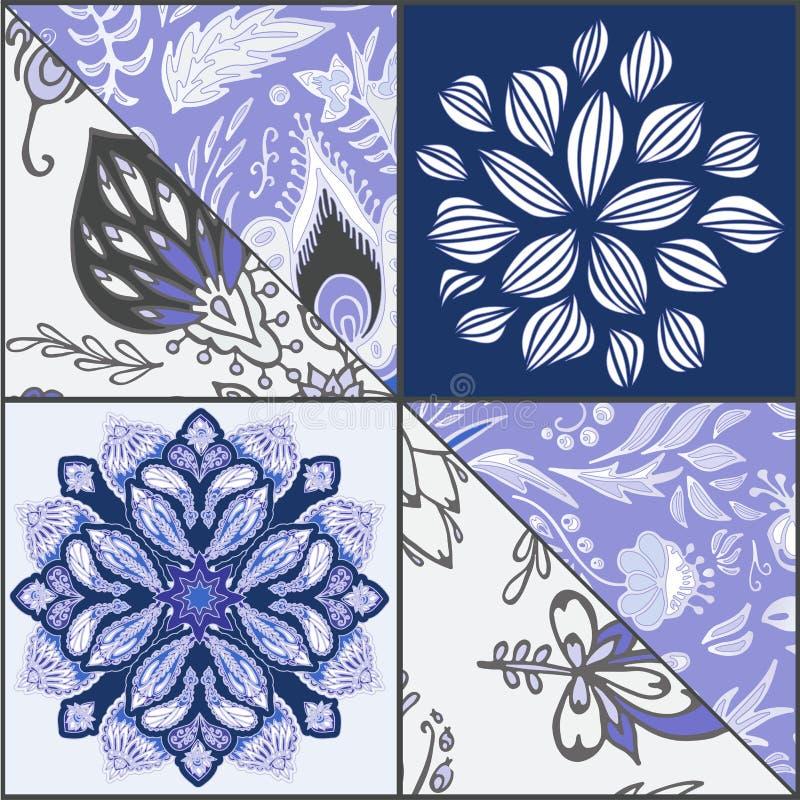 Абстрактная безшовная плитка patcwork с флористическим орнаментом arabic или o иллюстрация вектора