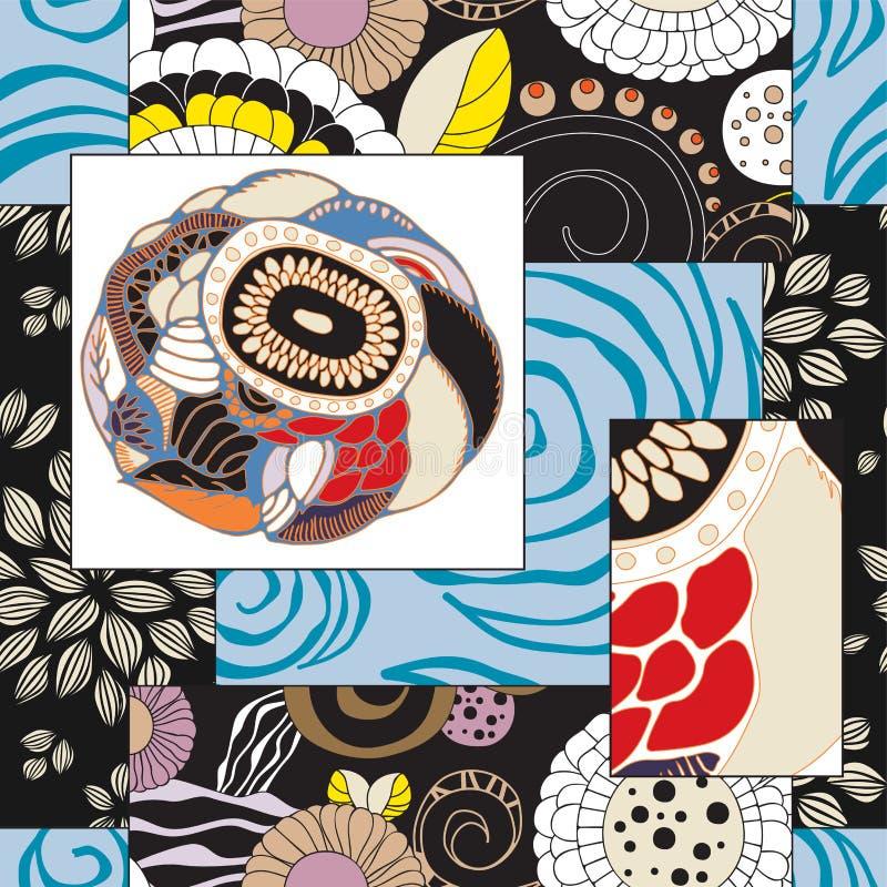Абстрактная безшовная плитка patcwork с флористическим орнаментом arabic или o бесплатная иллюстрация