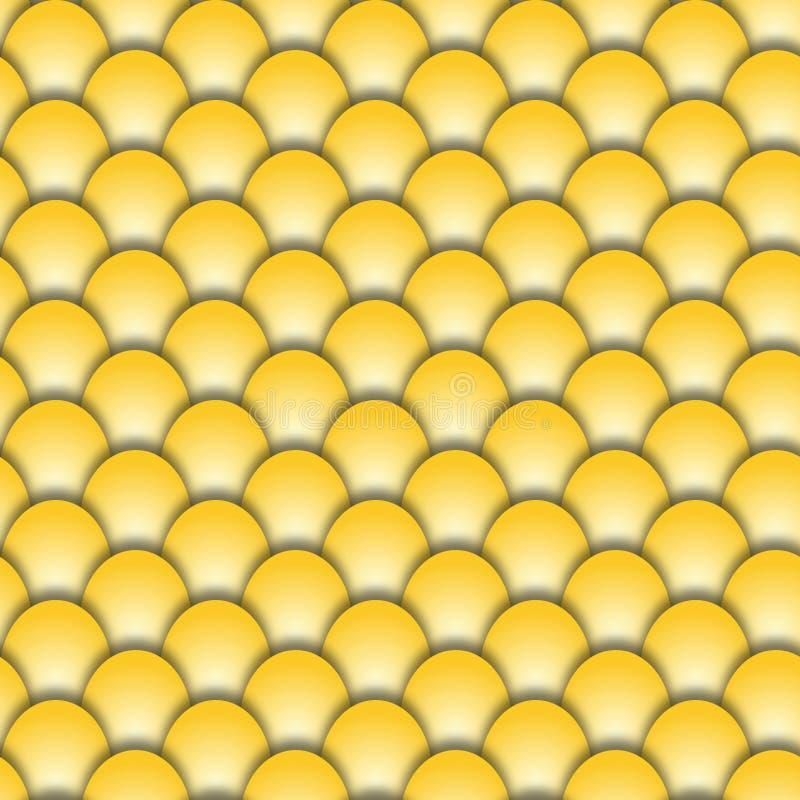 Абстрактная безшовная форма предпосылки золотых масштабов рыб иллюстрация штока