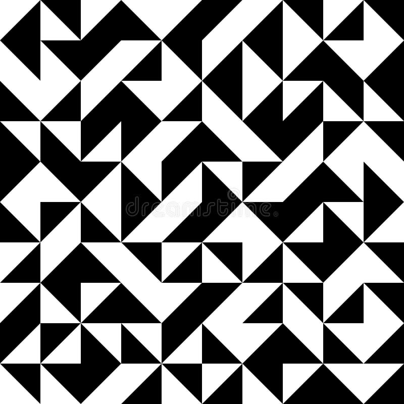 Абстрактная безшовная черно-белая картина с треугольниками иллюстрация штока