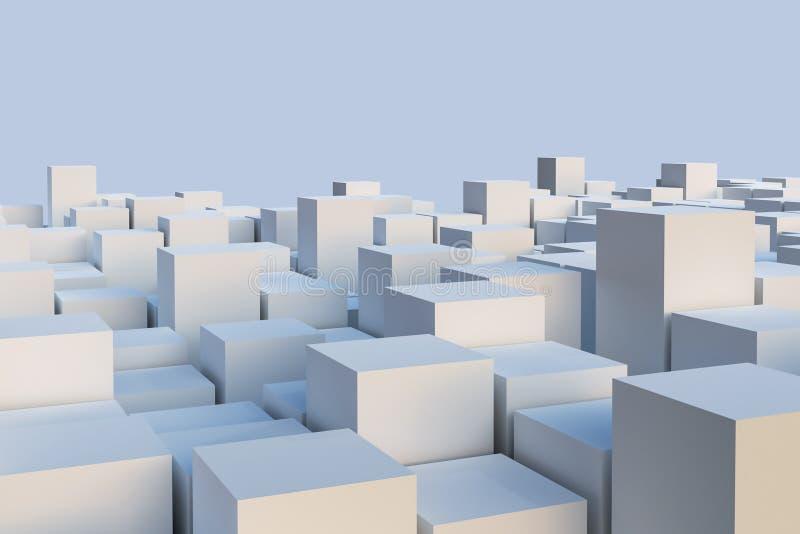 Абстрактная белая иллюстрация cuboids или кубов Геометрия или архитектура или обои или предпосылка горизонта схематические с экзе иллюстрация вектора