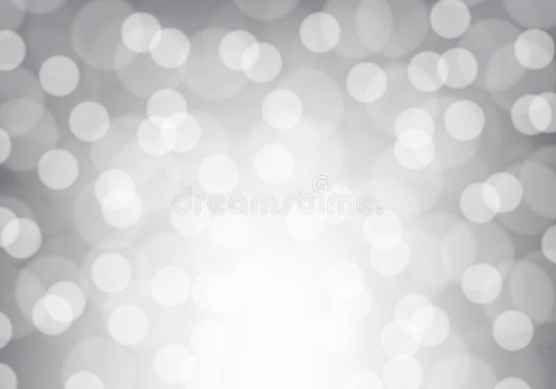 Абстрактная белая нерезкость света bokeh на сером роскошном векторе предпосылки бесплатная иллюстрация