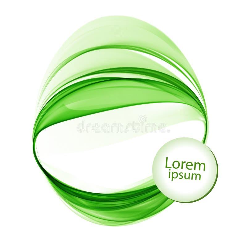Абстрактная белая предпосылка с зелеными линиями в форме круги иллюстрация вектора