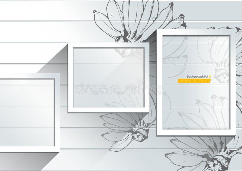 Абстрактная белая предпосылка с иллюстрацией руки банана вычерченной бесплатная иллюстрация