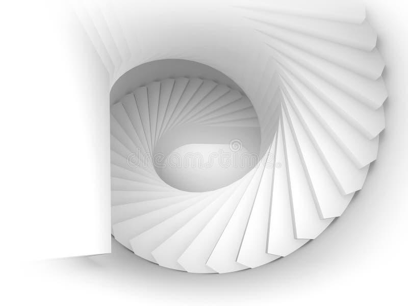 Абстрактная белая спиральная внутренняя перспектива 3d с лестницами иллюстрация вектора
