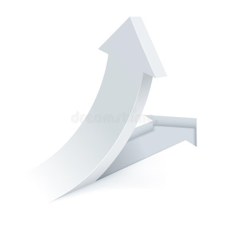 Абстрактная белая стрелка отрезанная и свернутая вверх бесплатная иллюстрация