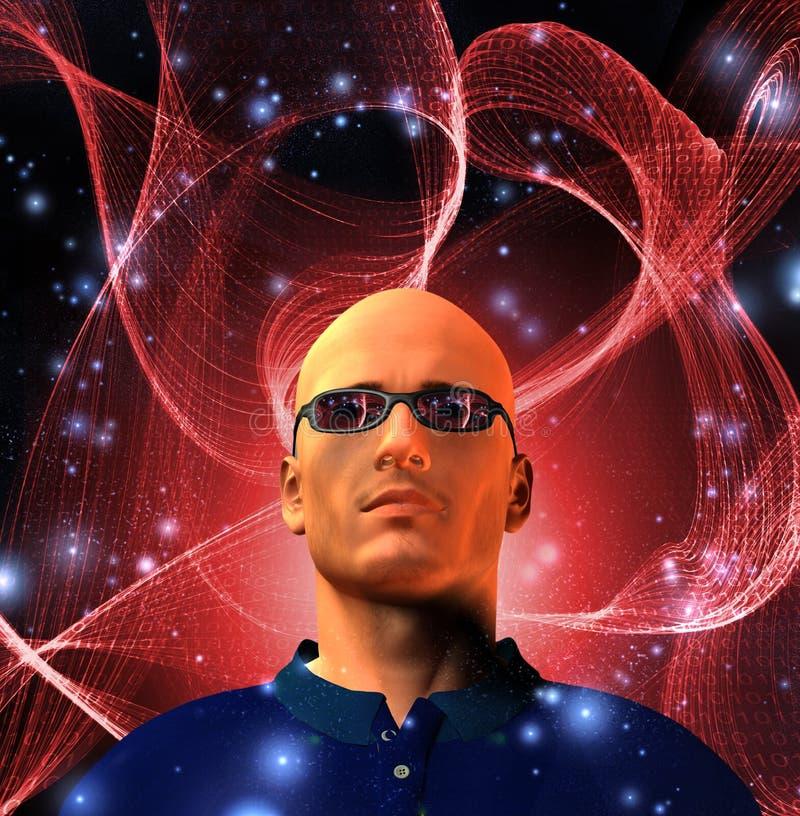 абстрактная бинарная сеть человека иллюстрация вектора
