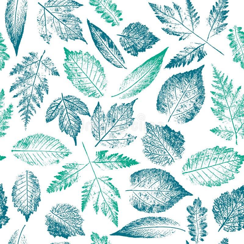 Абстрактная ботаническая картина Безшовная печать составленная штемпелей сини и зеленого цвета листьев дерева и куст на белой пре иллюстрация штока