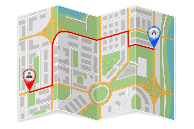 Абстрактная бумага карты города сложенная с маршрутом назначения иллюстрация вектора