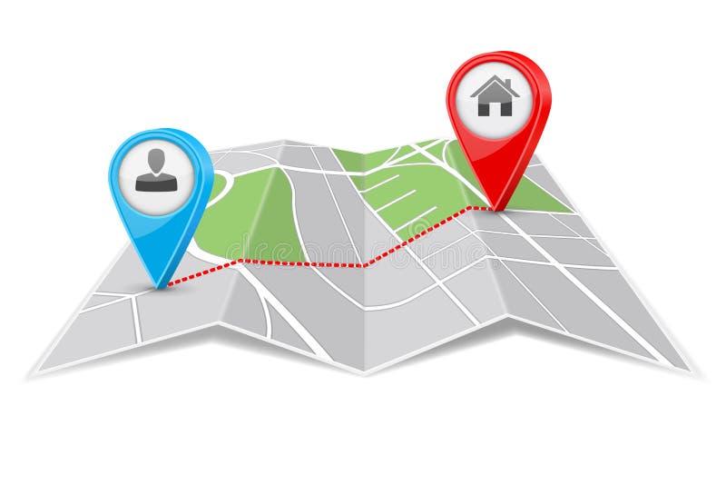 Абстрактная бумага карты города сложенная с маршрутом назначения иллюстрация штока