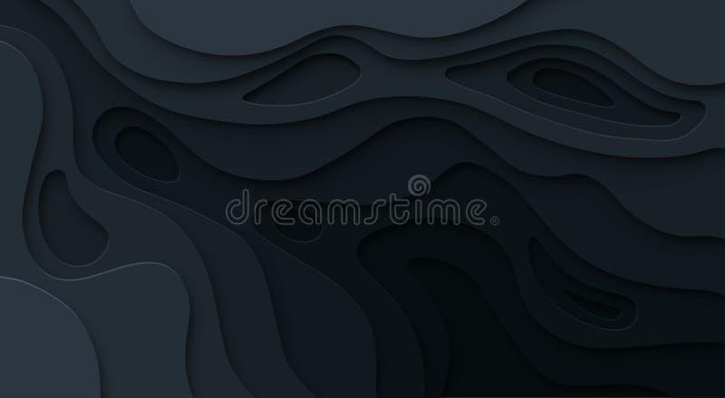 Абстрактная бумага отрезала черную предпосылку Текстура сброса топографической карты темная с изогнутыми уровнями, отверстием и т иллюстрация вектора