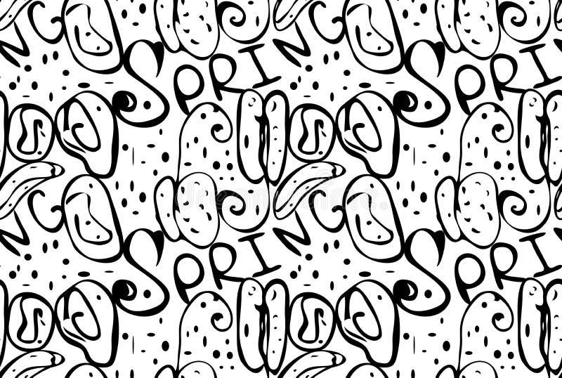 Абстрактная весна осеменяет черным по белому бесплатная иллюстрация