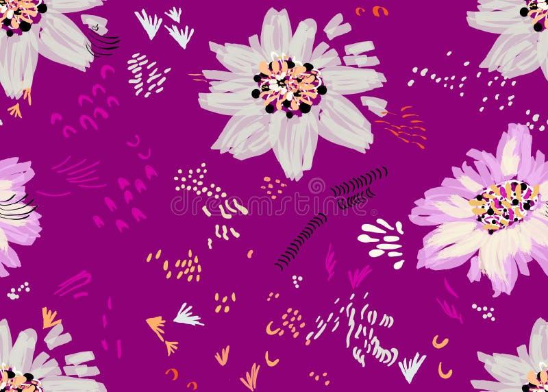 Абстрактная весна серая и светлая - фиолетовые цветки и семена на темноте бесплатная иллюстрация