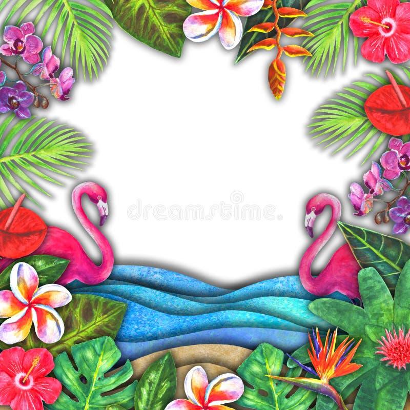 Абстрактная волна моря акварели лета, пляж песка, тропические заводы, розовая предпосылка фламинго бесплатная иллюстрация