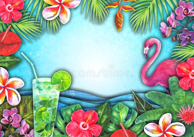 Абстрактная волна моря акварели лета, пляж песка, тропические заводы, предпосылка коктейлей mojito иллюстрация штока