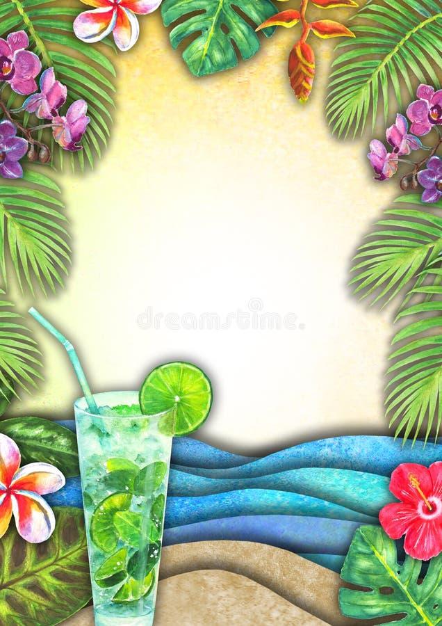 Абстрактная волна моря акварели лета, пляж песка, тропические заводы, предпосылка коктейлей mojito бесплатная иллюстрация