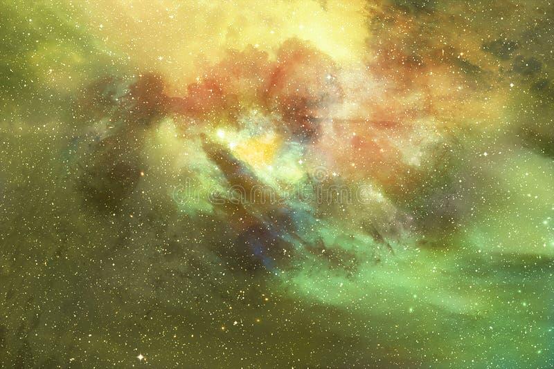 Абстрактная вселенная фантазии заполненная со звездами, межзвёздным облаком и галактикой стоковые изображения rf