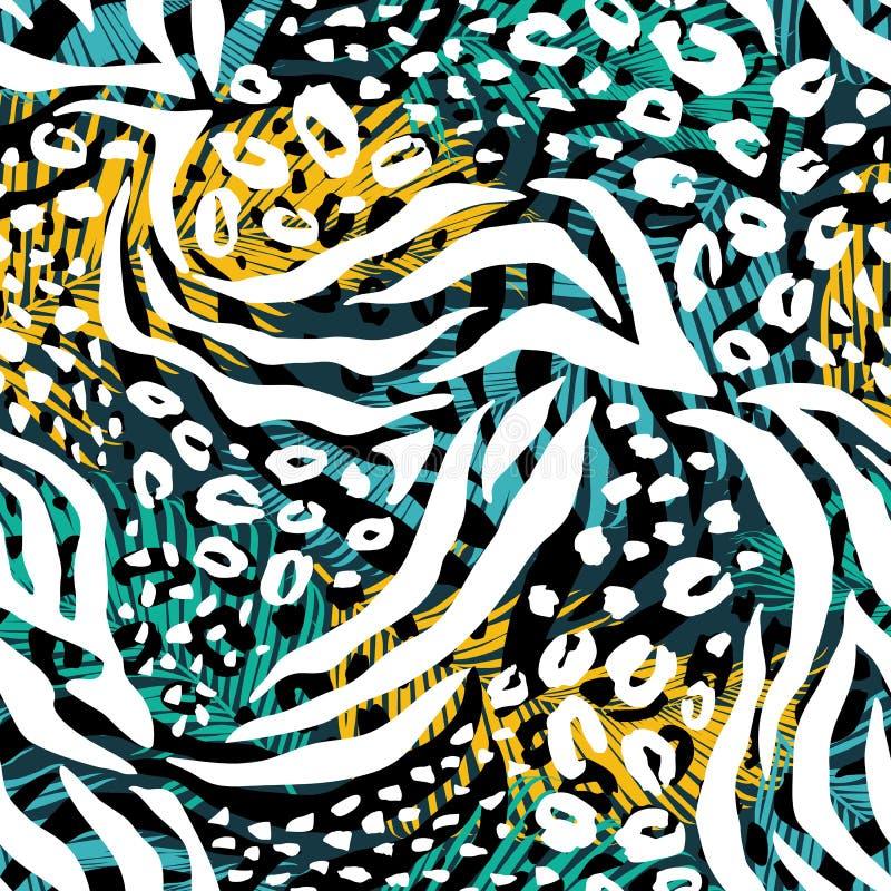 Абстрактная геометрическая безшовная картина с животной печатью иллюстрация штока