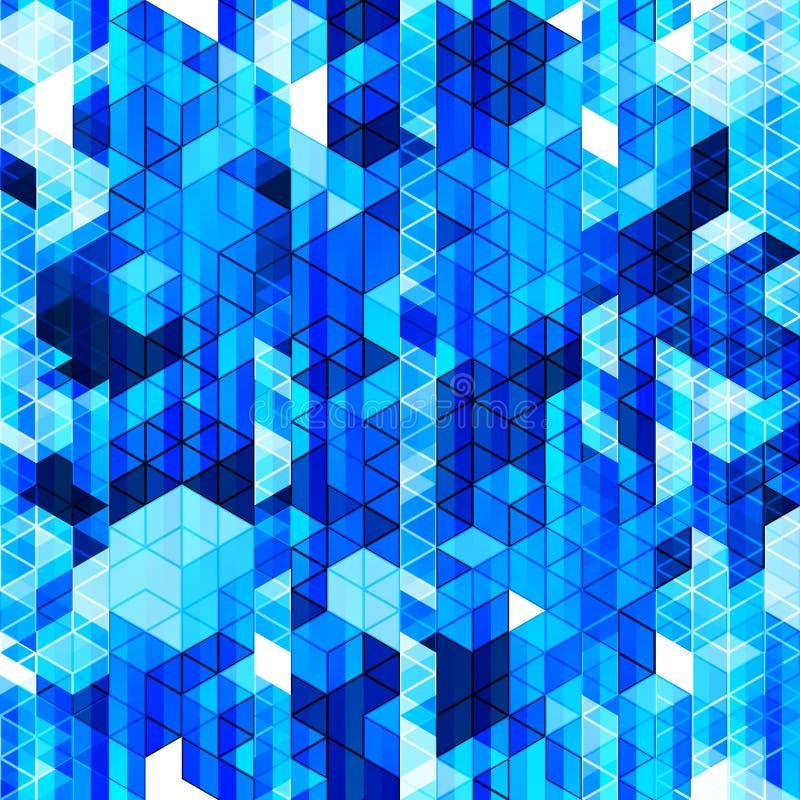 Абстрактная геометрическая безшовная предпосылка в голубых цветах иллюстрация вектора