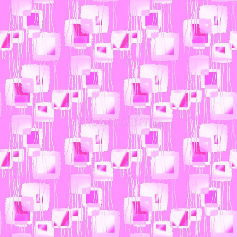 Абстрактная геометрическая безшовная предпосылка Регулярн затейливая картина квадратов с волнистым overlyin линий пинка, фиолета, бесплатная иллюстрация