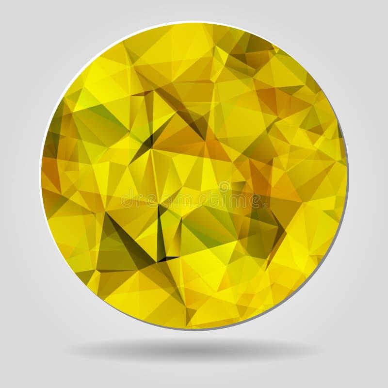 Абстрактная геометрическая желтая круглая форма от триангулярных сторон f иллюстрация вектора
