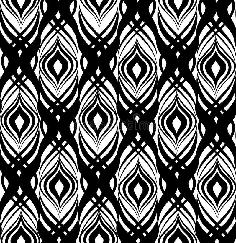 абстрактная геометрическая картина Безшовная линия черно-белое orname иллюстрация вектора