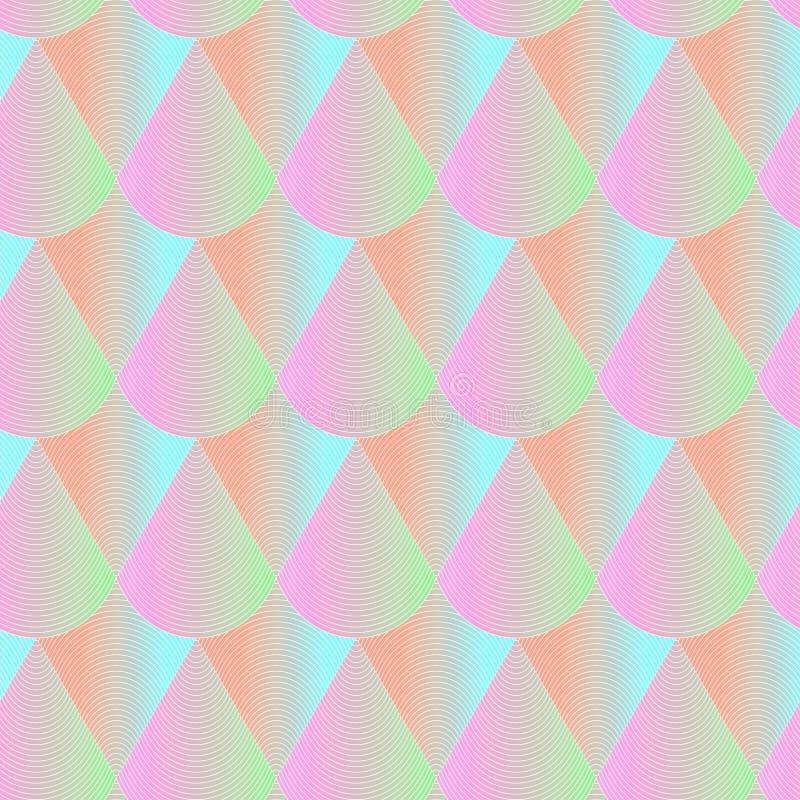 абстрактная геометрическая картина безшовная Предпосылка влияния Hologram регулярн repeatable Текстура с яркими масштабами цвета бесплатная иллюстрация