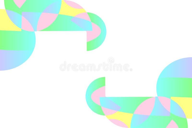 Абстрактная геометрическая картина в голубом, розовый, зеленый, желтый, фиолетовый на белой предпосылке, градиенте, космосе экзем иллюстрация штока