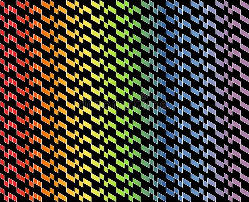Абстрактная геометрическая картина в пестротканом градиенте с тонкими белыми линиями на черной предпосылке цвета - Vector иллюстр иллюстрация вектора