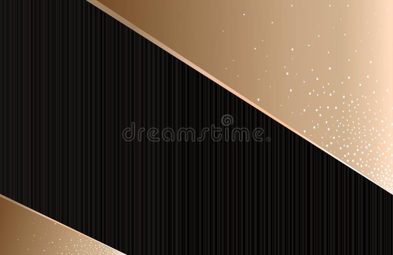 Абстрактная геометрическая предпосылка, горизонтальный, черная с золотом бесплатная иллюстрация