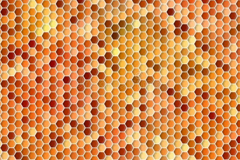 Абстрактная геометрическая предпосылка красочных оранжевых шестиугольников в картине расчесывать меда иллюстрация вектора
