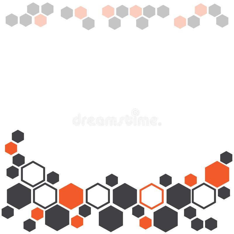 Абстрактная геометрическая предпосылка с темным - серые и оранжевые шестиугольники r бесплатная иллюстрация