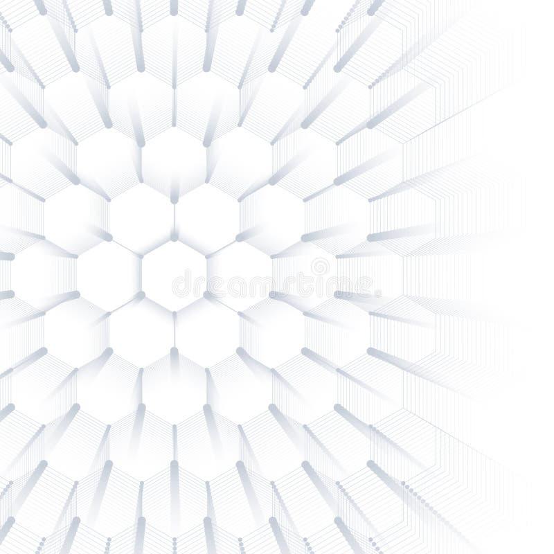 Абстрактная геометрическая предпосылка, шестиугольная текстура Большие визуализирование данных и предпосылка связи график иллюстрация вектора