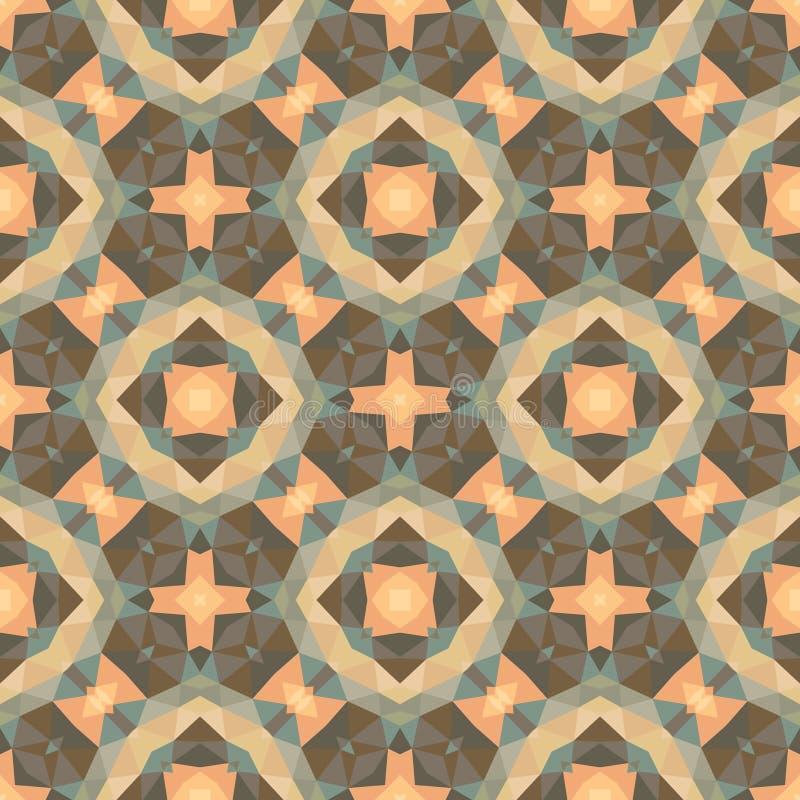 Абстрактная геометрическая предпосылка - безшовная картина вектора в розовых, бежевых, коричневых и зеленых цветах Этнический сти иллюстрация вектора