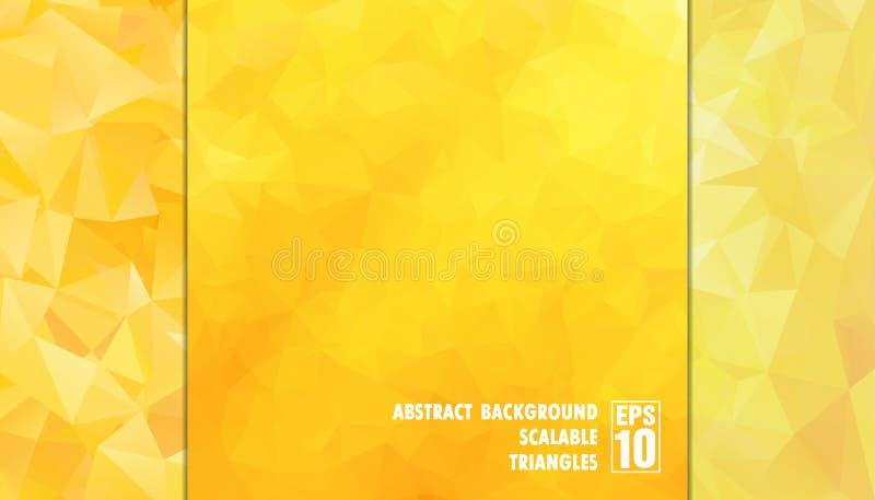 Абстрактная геометрическая предпосылка треугольников в желтых цветах стоковые изображения