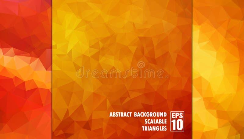 Абстрактная геометрическая предпосылка треугольников в оранжевых цветах стоковые фотографии rf