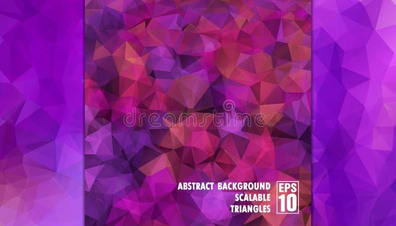Абстрактная геометрическая предпосылка треугольников в фиолетовых цветах стоковые изображения