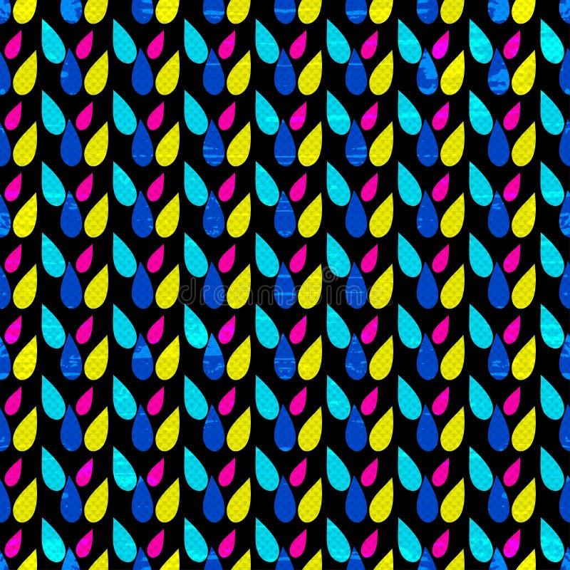 Абстрактная геометрическая психоделическая безшовная картина на черной текстуре grunge предпосылки иллюстрация вектора