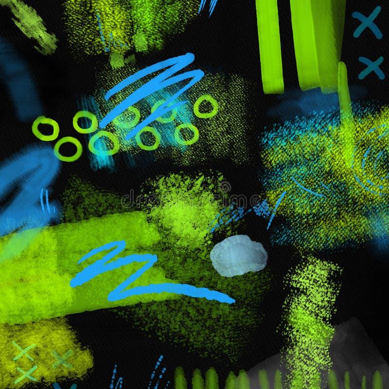 Абстрактная геометрическая рука 80s и 90s рисует картину на черной предпосылке Картина краски щетки акварели абстрактная картина бесплатная иллюстрация