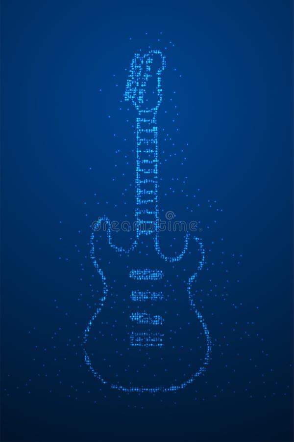 Абстрактная геометрическая форма электрической гитары картины пиксела точки круга Bokeh, иллюстрация цвета дизайна концепции аппа иллюстрация вектора