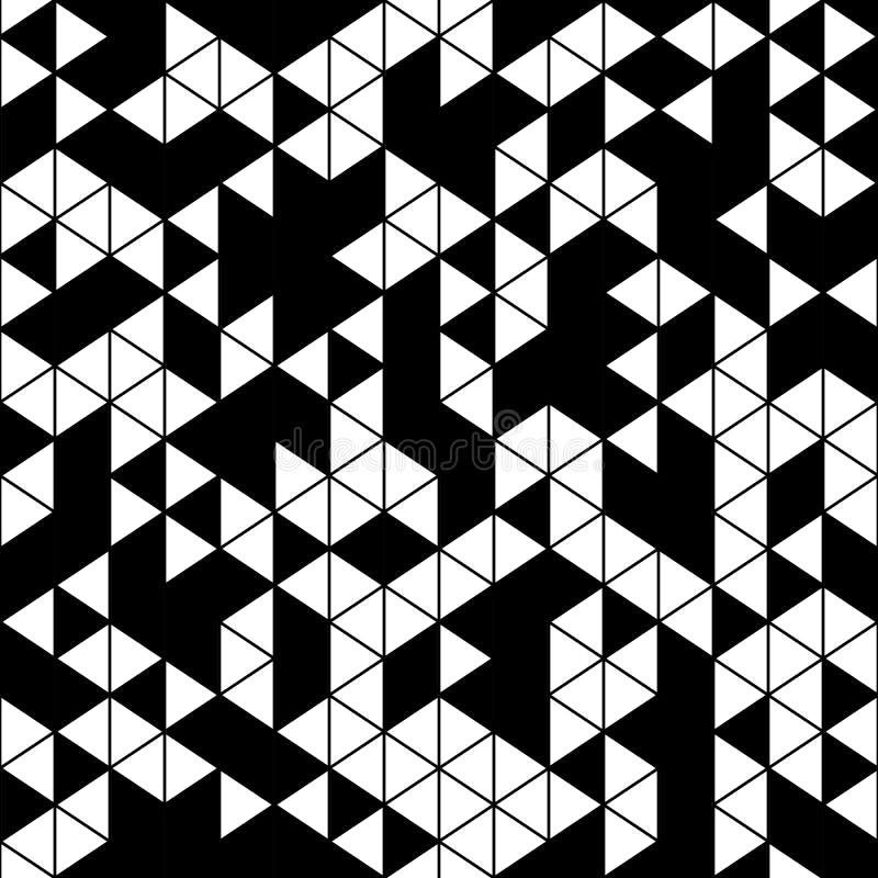 Абстрактная геометрическая черно-белая безшовная картина иллюстрация штока