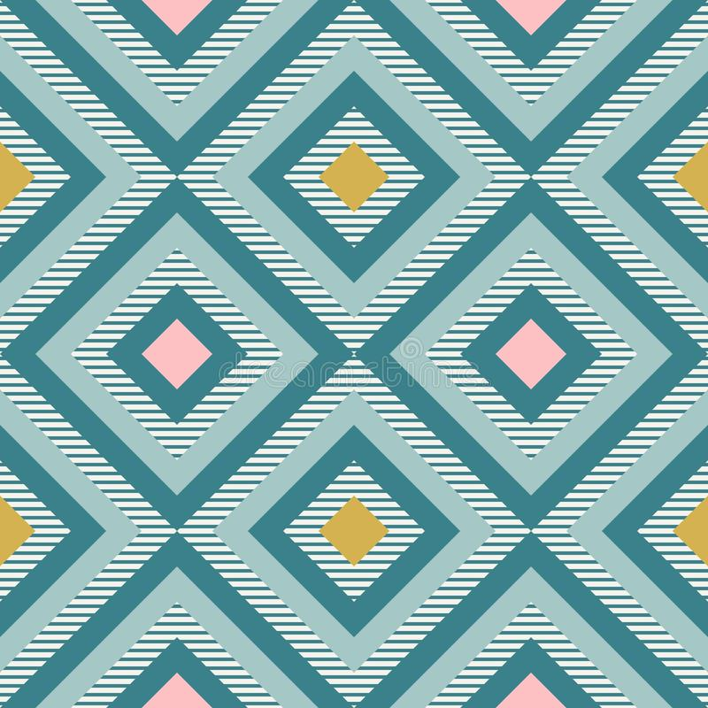 Абстрактная геометрия в ретро цветах, картина geo форм диаманта иллюстрация вектора