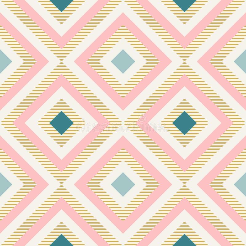 Абстрактная геометрия в ретро цветах, картина geo форм диаманта иллюстрация штока